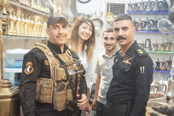 Beatrice with Iraqi Special Forces in Mosuls oldest coffee shop