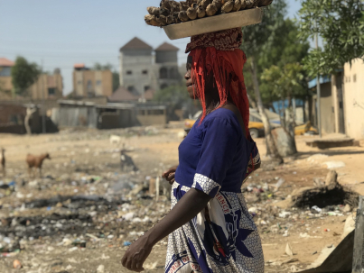 A woman carries products to market in the traditional manner in Chad's capital, N'Djamena.